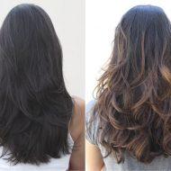Californianas em cabelos pretos de costas