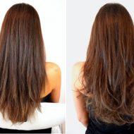 Corte de cabelo desfiado frente e costa